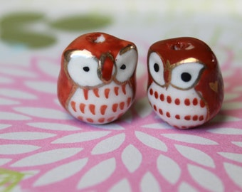 SALE 18 Ceramic Owl Beads - Burgundy - CLEARANCE - DESTASH