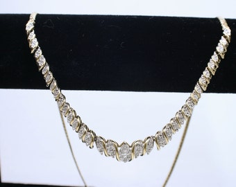 Gold plated sterling silver collar necklace with diamonds