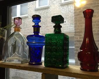 Green textured Glass Decanter