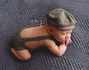 Knit Overalls - Newborn Photo Prop
