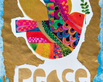 """Healing, Blessed, Channeled """"Peace"""" Prayer Card Printed with Original Mixed-Media Collage Art"""