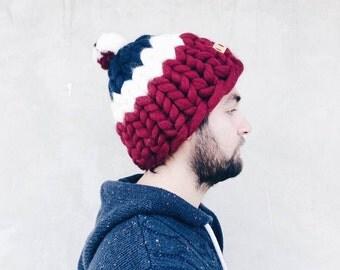 MERINO SUPER CHUNKY Hat, Merino Hand Knit Helsinki Hat,  Unisex Helsinki Hat, Pom Pom Boy's Hat, by YourYarn
