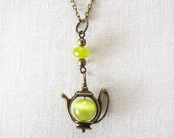 Green Tea Teapot Necklace Cats Eye Pendant Lime Jade Tea Time Charm Alice in Wonderland Mad Hatter Fun Jewelry Girlfriend Gift Catseye