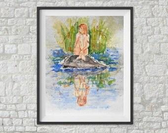 Watercolor print / Printed / Original Art Deco / Ink / by Janna