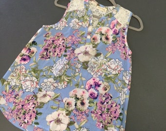 Floral and Lace Blue and Purple Boutique Sleeveless Shirt