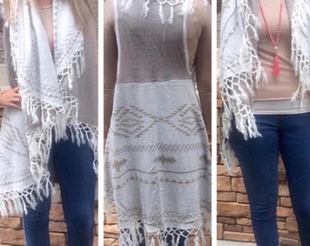 Long Fringe Vest with Aztec Detail