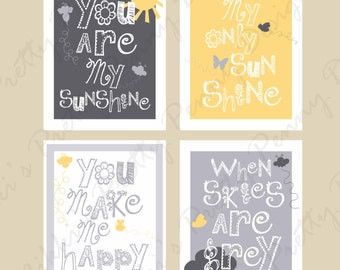 U R MY SUNSHINE SET, Printable Wall Art, Wall Art