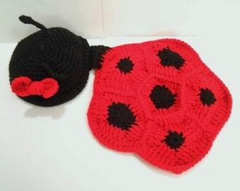 Handmade Crochet Newborn Baby Lady Bug Photo Prop Blanket