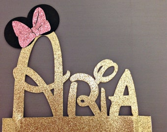 Minnie Mouse Cake Topper, Custom Disney Font Name Cake Topper, Minnie Mouse Personalized Cake Topper, Glitter Cake Topper, Customized