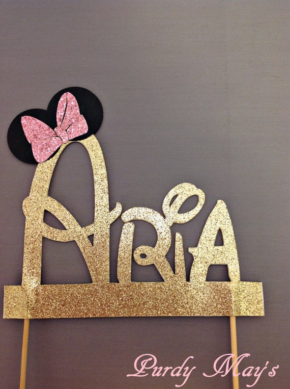 etsy disney wedding cake toppers minnie mouse cake topper custom disney font name cake topper 14045