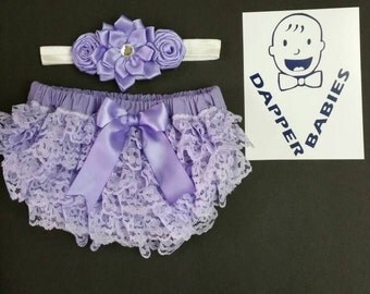 Lace Ruffle Bum Diaper Cover with matching headband