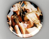"""ONE of a KIND Sexy Girls Blowing Bubble Gum 2 1/4"""" Button -"""