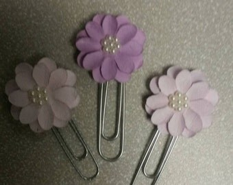 Purple Paper Flowers Paperclips