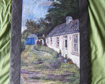 Handpainted art- landscape paintings on slate- Made to order