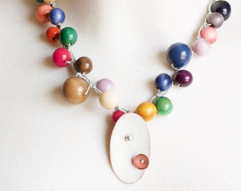 Colombiana-colgante of enamel baked mano-sobre copper fire tagua necklace