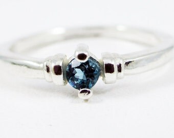 Tiny London Blue Topaz Stacking Ring Sterling Silver