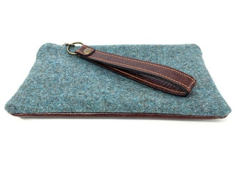 Fabric & Leather Wristlet (small)