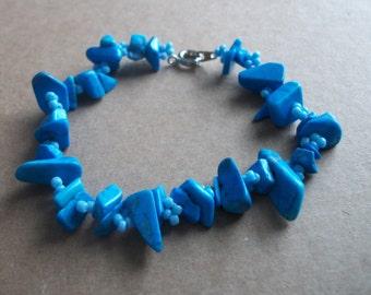 Turquoise & Diamonds beaded bracelet