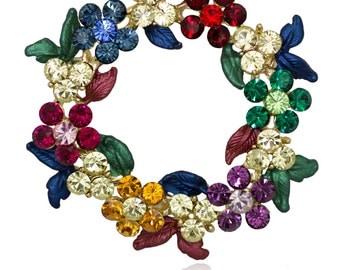 Gold-tone Swarovski Element Crystals Wreath Pin Brooch - Muticolor Christmas