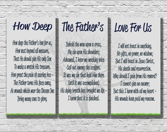 How Deep The Father's Love For Us, 3 Panel Canvas, Multi Panel Canvas, Multi Panel Wall Hanging, Hymn Typography, Canvas Wall Decor