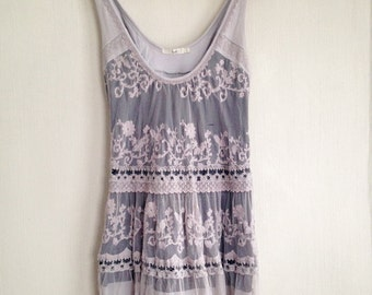 grungy lace dress - purple, lavender, distressed, adjustable, vintage inspired, bohemian