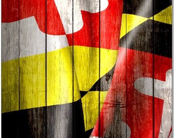 Maryland Flag Wavy Weathered Wood Cornhole Wrap Bag Toss Decal Baggo Skin Sticker Wraps