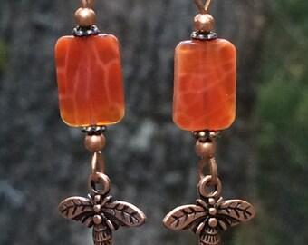 Honey bee earrings, gemstone earrings, fire agate, copper jewelry