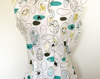 1950s Chicken Print Blouse Small