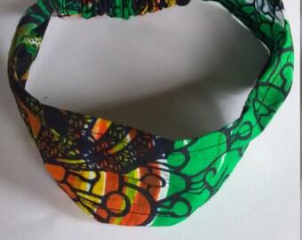 Bold Green Kitenge Headband, Ugandan African Fabric