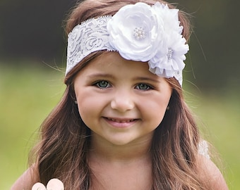 White Baby Headband,Newborn Headband,Baby headbands, Flower Girl Headband,Christening Headband, Baptism Headband, White lace headband