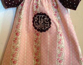 Girl's Vintage Rose Peasant Dress with Initials