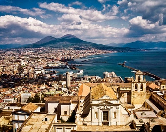 Mount Vesuvius, Naples Italy, Naples Travel Photo, Naples Seaview, Naples From Above, Italy Wall Decor, Large Wall Art, Fine Art Photo