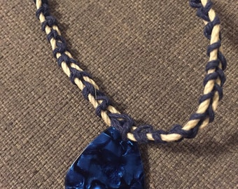 Blue and White Guitar Pick Hemp Necklace