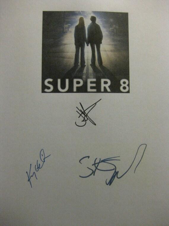 Super 8 Signed Film Movie Screenplay Script X3 Autograph J.J. Abrams Kyle Chandler Steven Spielberg signatures eight
