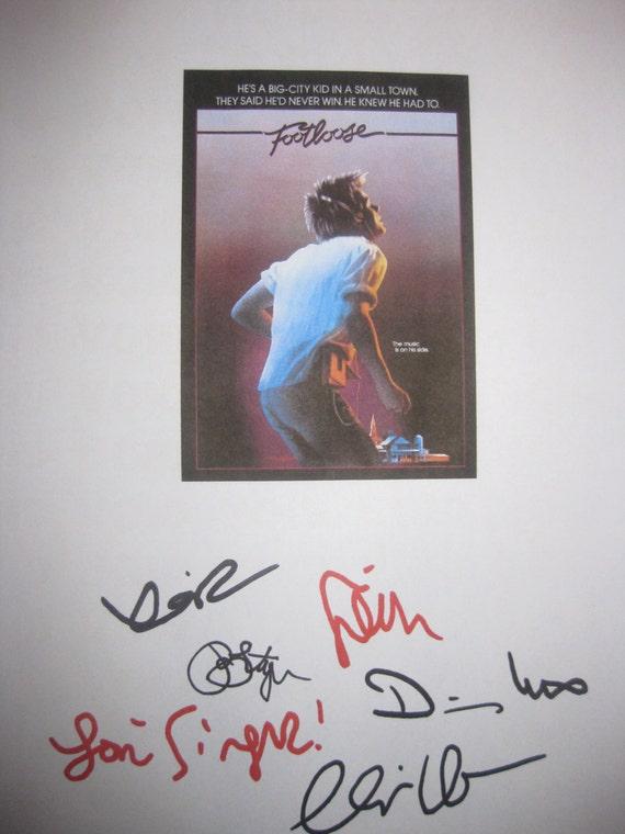 Footloose Signed Film Movie Script X6 Autographs Kevin Bacon Sarah Jessica Parker John Lithgow Lori Singer Dianne Wiest Chris Penn signature