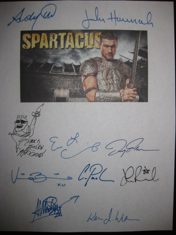 Spartacus Signed TV Screenplay Script Autographs x10 Andy Whitfield Manu Bennett Lucy Lawless John Hannah Erin Cummings Craig Parker Rawls