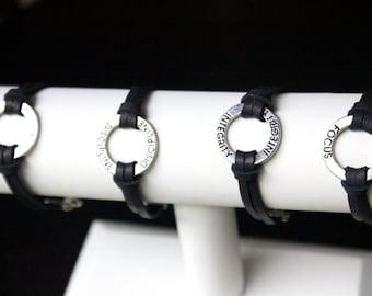 Positive Message Black Leather Bracelets