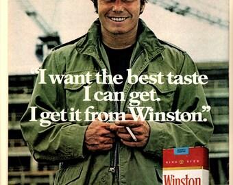 1970s Winston cigarettes Vintage magazine ad wall decor man cave