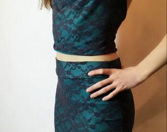 Pencil skirt, lace, knit