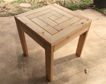 Outdoor side table, spiral top, herring bone pattern, outdoor furniture, 2x4
