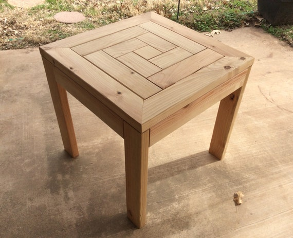 Simple Side Table Ideas: Outdoor Side Table Spiral Top Herring Bone Pattern Outdoor