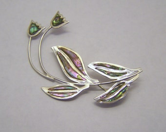 MR sterling silver Mexican abalone brooch pin