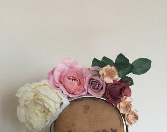 Flower Crown - Plum, Dusty Pink & Ivory Fascinator