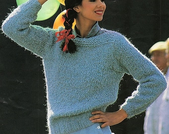 Soft Oversized Hand Knitted Thick Sweater with Hood Easy