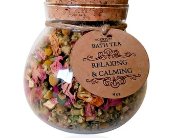 BATH TEA, Bath Teas, Organic Bath Tea , Relaxing Bath Tea, Botanical Bath Tea, Organic Flowers, Organic Herbs, Gifts for Her, Birthday Gift