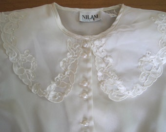 Ivory Polyester Overblouse, Nilani, Size 6-Petite, Vintage