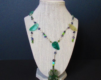 2000 Year old Roman Glass Pieces, Amethyst, Chrysoprase Necklace with Roman glass, Iolite, Amazonite, and Chrysoprase Pendant