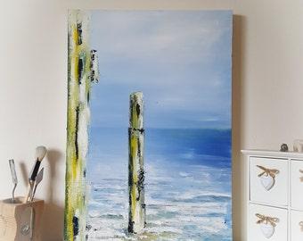 Tranquillity III ~ Coastal Landscape Oil Painting of Calm Sea, Blue Skys & Textured Coastal Beach Groyne's. Serene Abstract Modern Art.