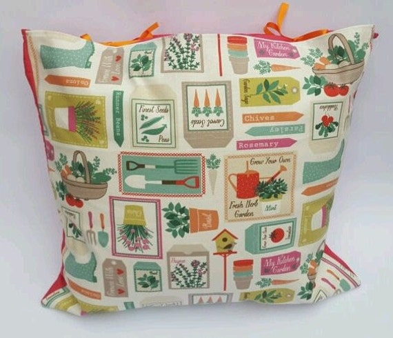 Home Grown Pink Multi Colour Garden Print Handmade Orange Ribbon Tie Cushion Cover Seeds, Gardening Tools