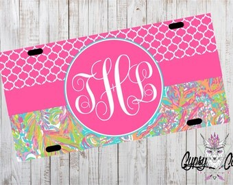 Mongram Lilly Pulitzer License Plate, Car Tag, License Plate